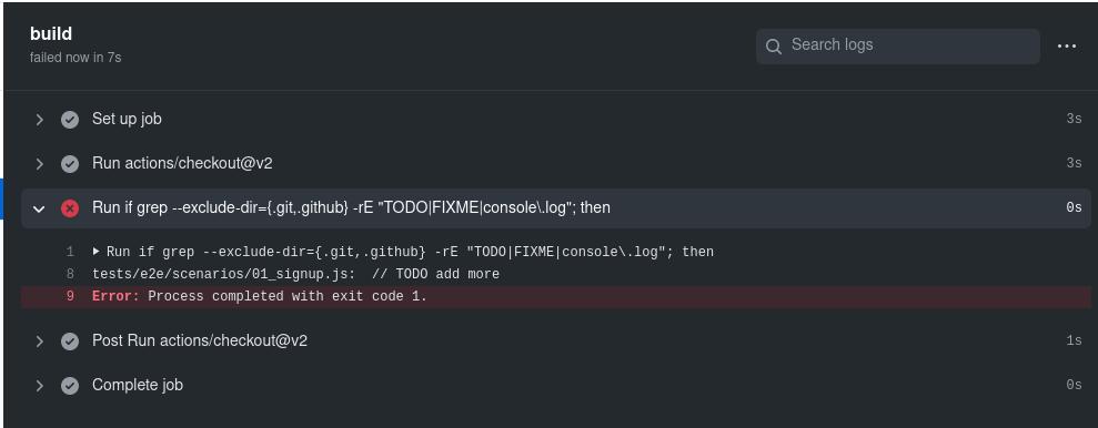 Screenshot of a failed build