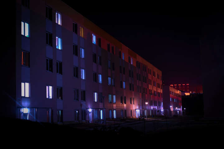 Campus building, they were lit by two different light sources, but I accentuated that quite a bit