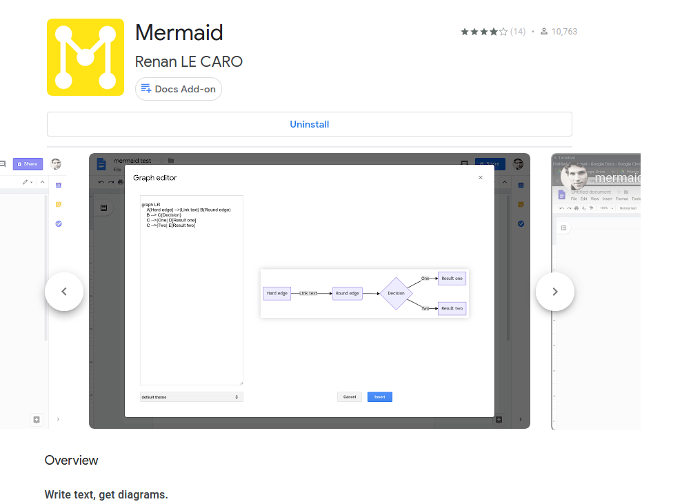 Screenshot of the mermaid add-on in the g-suite marketplace